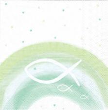 Servietten 33x33 20St. (001) Kommunion Konfirmation Taufe Regenbogen Fisch grün