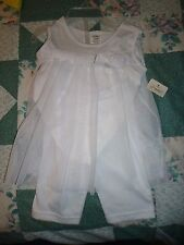 New Girl's 2 Piece Set 18 Months White Pants with a Fancy White Sleeveless Top