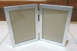 """Fold Out Hinged Silver Double Photo Frame 4x6"""" (10x15cm)"""