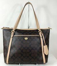 Coach Peyton Signature Pocket Tote Shoulder Bag Brown Tan Purse Handbag F26186