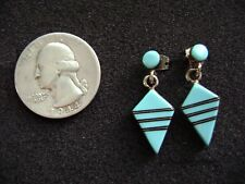 Vintage Zuni Sterling Silver and Turquoise Earrings