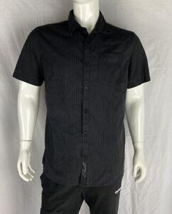 O'Neill Button Up Striped Black Short Sleeve Shirt, Men's Size Large
