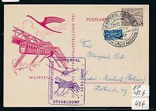 87696) Helikopterpost BRD Wuppertal 10.6.51, So-Karte EF Berlin 15PF