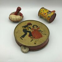 Vintage Lot 3 Toy Noise Makers Tin Litho Tambourine Clowns For Parts Repair G2