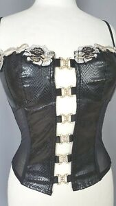 Pretty Corsage Corset Faux Leather Sexy Lace S NEW SIZE FR36 US4 UK8