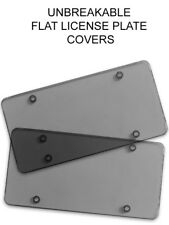 2x Smoked Flat License Plate Cover Shield Tinted Plastic Tag Protector