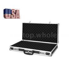 Aluminum Hard Lock Pistol Gun Case Foam Padded Handgun Carry Storage Box Black