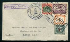 Salvador - Enveloppe de Santa Ana pour Londres en 1934 par avion - J 104