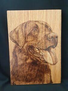 Black Labrador - hand made, wood burnt picture on oak