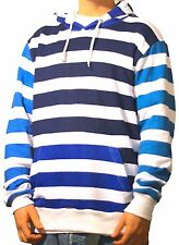 Mens Striped Blue Hoodie Royal navy white Polo stadium 92 Cross Colours Supreme