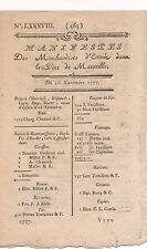 Manifestes des entrées de marchandises port Marseille imprimé 1777 26 novembre