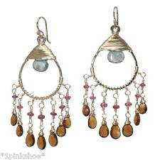 Koh Lipe 35~Apatite, Pink Ruby, Mandarin Garnet Drop Earrings with Metal Choice