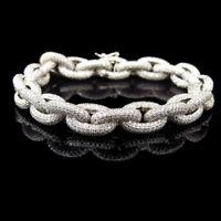 Men's 14K White Gold Over Link Chain Diamond Bracelet 11 mm in Width
