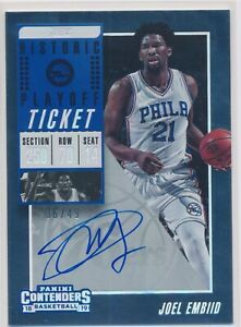 2018-19 PANINI CONTENDERS JOEL EMBIID PLAYOFF TICKET AUTO AUTOGRAPH /49!