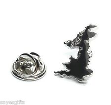 High Quality Rhodium Great Britain & NI Outline Map Lapel Pin Badge
