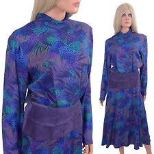 Vintage 80s Avant Garde Dress Et Al Ronnie Rosado Suede Hip Hugger Fluid Rayon M