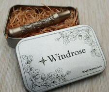 Windrose safety razor Handle Brass Oak Leaf Satin Finish Made in UK.