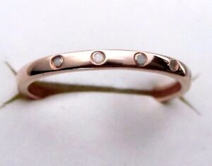 Genuine Diamond Ring / size 5 / 14K Rose Gold over 925 Sterling Silver / 0.05cts