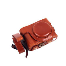 Camera Case Bag with Neck Strap Belt For Sony Cyber-shot DSC-HX90V HX90V Brown