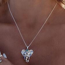 GUT Boho Silber Elefant Anhänger Halskette Retro Damenkette ModeSchmuck