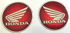 2pcs x Honda logo in red. Domed 3D Stickers/Decals. Diameter 60mm.