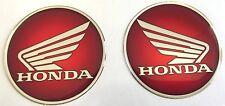 2pcs x HONDA logo en rouge. En forme de dôme 3D Autocollants/Decals. Diamètre 60 mm.