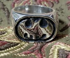 Sterling Silver Ring, with batman logo, hand carved, nice style,sizeable 7-13