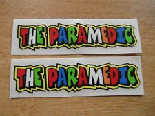 """Valentino Rossi style text - """"THE PARAMEDIC""""  x2 stickers / decals  - 5in x 1in"""