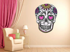Mexican Sugar Skull Daisy Wall Decal dia de los muertos Art Vinyl Wall Decal