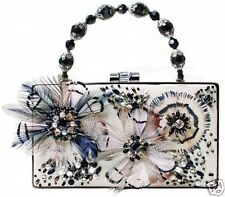 Mary Frances Black White Couture Flight Framed Beaded Feather Handbag NWT
