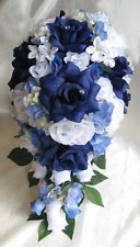 Wedding Bouquet Bridal Silk flowers NAVY BLUE WHITE PERIWINKLE Cascade 17 piece