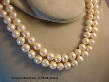 Echte zweireihige Perlenkette, Super Lüster, Verschluss 925 Silber Geschenk TOP