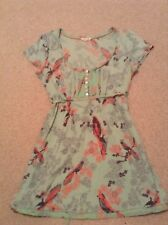 White Suff Tunic Top size 12 Green/pink floral/birds