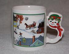 Christmas Coffee Mug with Winter Scene - Cute Snowman Handle - Holiday Tea Cup