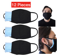 12-Pcs Black Face Mask W/ Filter Pocket Double Protection Washable Cover Masks