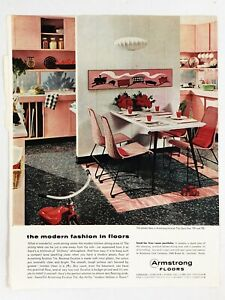 Vintage 1950s Print Ad PINK KITCHEN Flooring ARMSTRONG Floors Decor