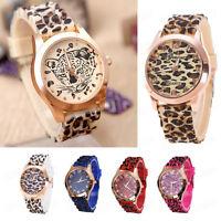 Fashion Men Women Geneva Leopard Silicone Jelly Gel Quartz Analog Wrist Watches
