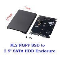 "M.2 SSD NGFF (B Key) to 2.5"" SATA 7mm HDD Enclosure Case Converter Adapter black"