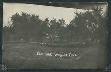 OK Waynoka RPPC 1910's ELM PARK & BAND STAND or PERGOLA Woods County