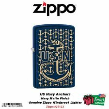Zippo US Navy Lighter, Navy Matte, Engraved Anchor Design #29122
