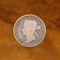 Raw 1872 H Canada 25C Circulated Canadian Silver Quarter Coin