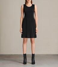 NEW + TAGS * ALLSAINTS * ETTA BLACK PLEATED FIT & FLARE DRESS SZ S 8-10 RRP £128