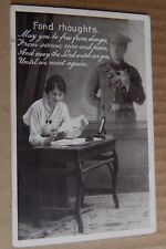 """Postcard WW1 Patriotic Romance card """" Fond Thought"""" soldier Message"""