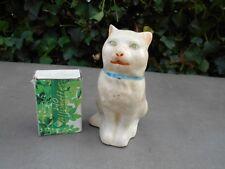 Ancienne rare tirelire à casser faïence craquelée formant 1 chat aux yeux verts