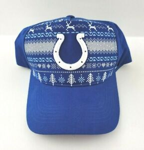 Rare Indianapolis Colts Christmas Blue White Adjustable Cap New