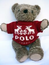 """Ralph Lauren Teddy Bear Jointed Red Polo Christmas Sweater 1998 Collectible 15"""""""