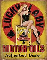 Lucky Lady Motor Oils Tin Sign 13 x 16in