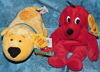 "T-Bone & Clifford 8"" Plush Lot Set Stuffed Animal Big Red Dog Side Kicks New Tag"