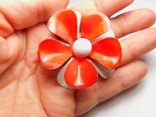 Red White Enamel Flower Brooch Vintage