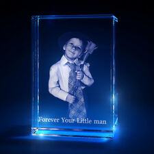 3D Laser Crystal Glass Personalized Etched Engrave Stand Mother's Day Portrait S